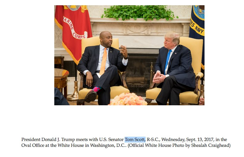 The White House just sent out a photo of Senator Tim Scott meeting with President Trump. They call him, 'Tom Scott.'