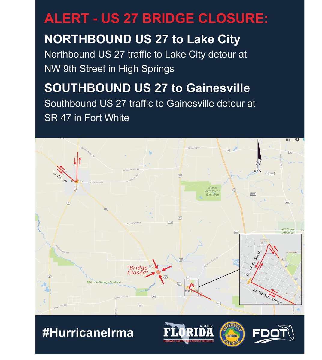 Map Of Us 27 In Florida.Wuft News On Twitter Fdot And Dhsmv Have Closed Us 27 Near The