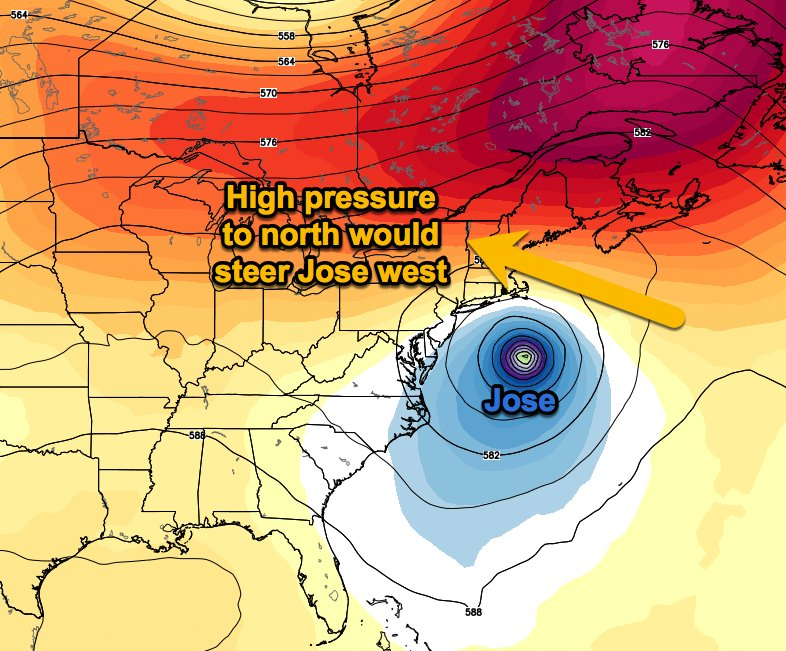 One Of The Possible Scenarios Which Euro Shows Is High Pressure Aloft Building Over Se Canada Which Could Steer Jose Toward Northeast Us