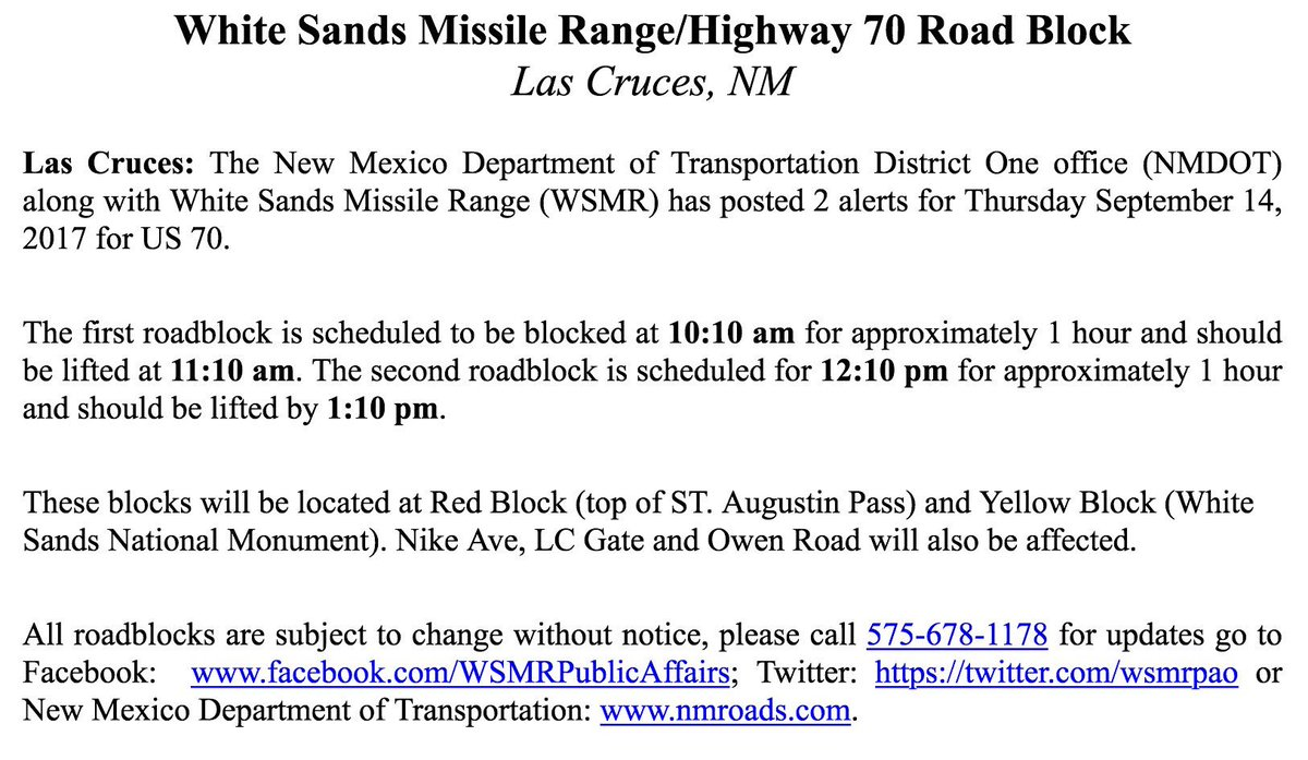 New mexico dona ana county garfield -  Trafficalert Wsmr Hwy70 Roadblock