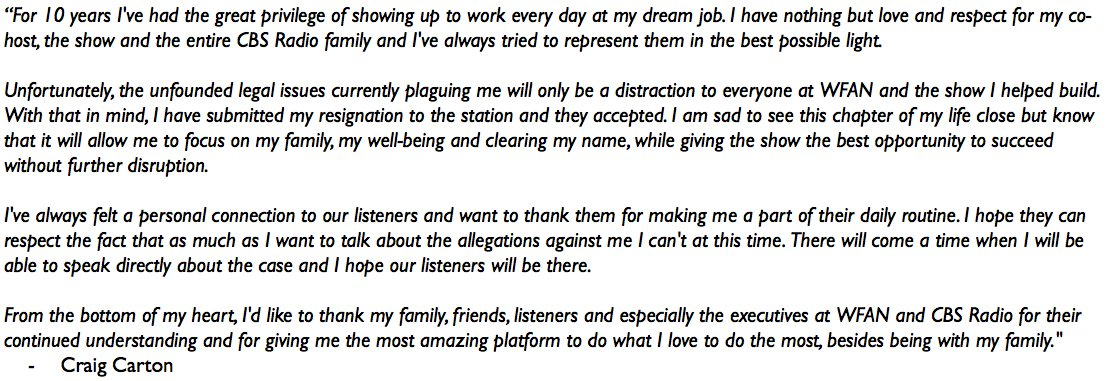Just in: Craig Carton resigns from WFAN. https://t.co/z7ZWVGrDf7