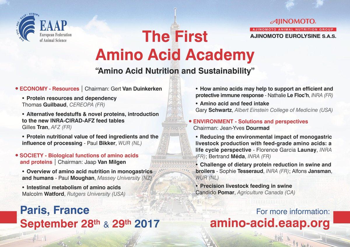 Don&#39;t miss the first Amino Acid Academy by #EAAP and #AjinomotoEurolysine on 28-29th Sept. in Paris! #AnimalNutrition #Livestock #AminoAcid <br>http://pic.twitter.com/spf2o9xrAj