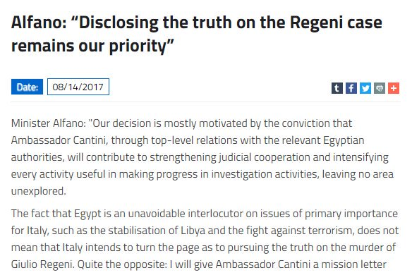 #Italy&#39;s Amb. back to #Egypt 18 months after #Regeni&#39;s #torture/murder. His actions will show what...  http:// bit.ly/2vVc8Hn  &nbsp;   by #hrw <br>http://pic.twitter.com/TrrE8LEBXX