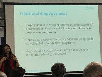 Working translocal strengthens empowerment feelings #socinn <br>http://pic.twitter.com/TF08Y3hehC