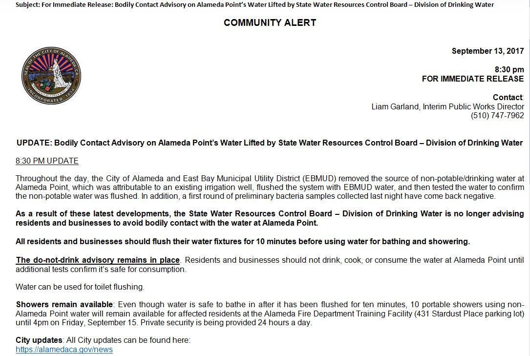 Bodily contact advisory water lifted. all residents & businesses ...