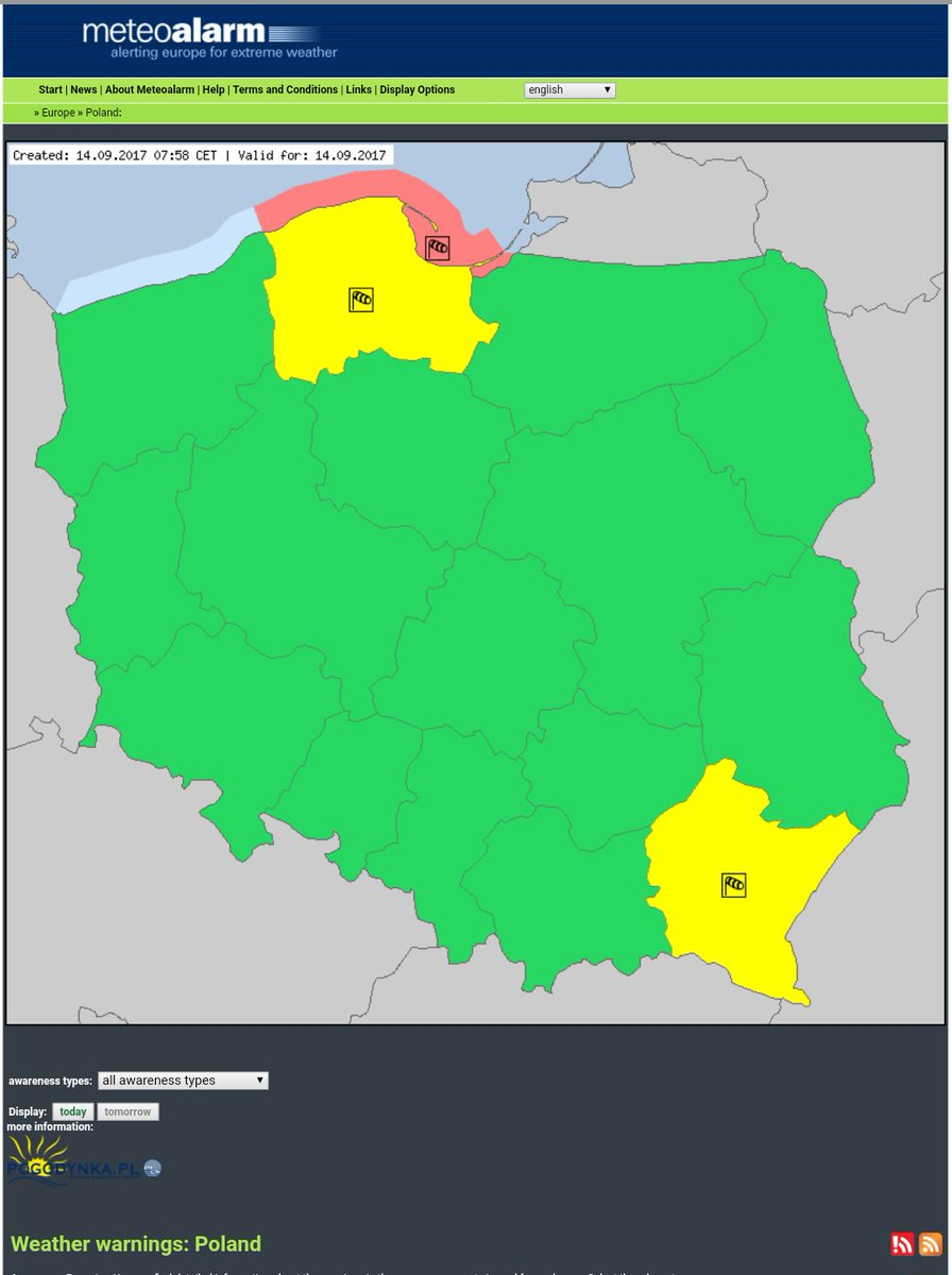 #RedAlert due to #Wind in Germany and #Poland, and also due to #Rain in #Germany #SevereWeather  #SMEMde #MSGU #RSGE #SMEM<br>http://pic.twitter.com/qoxfrjS0Ig
