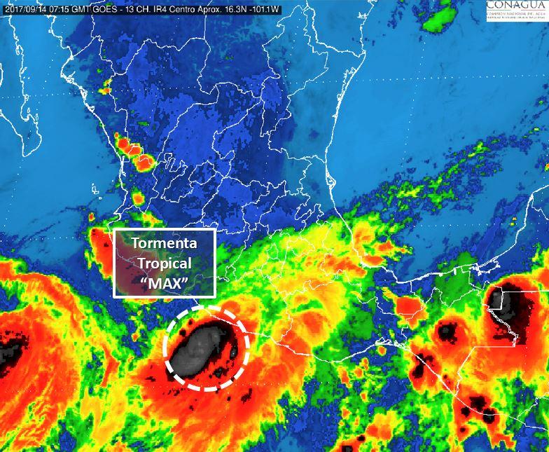 Max se degrada a tormenta tropical tras tocar tierra en Guerrero
