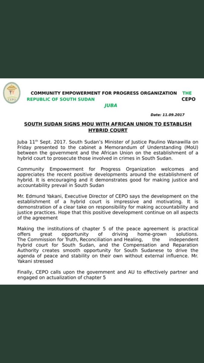 Thijs Bouwknegt On Twitter South Sudan Signs Memorandum Of Next Chapter Into The Cabinet Understanding With African Union Hybrid Court