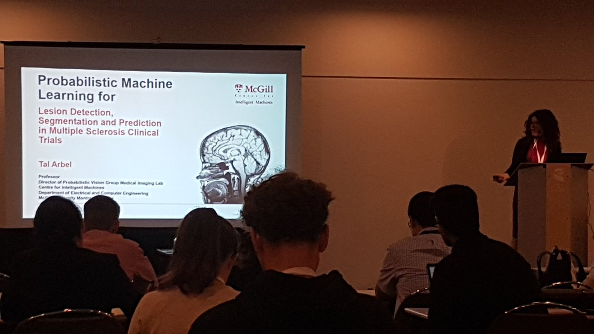 ML in MS clinical trials by dr. Tal Arbel. &#39;By the way of introduction, this is my brain on the slide&#39;. Cool, right? #miccai2017 <br>http://pic.twitter.com/6PjqiolTb6