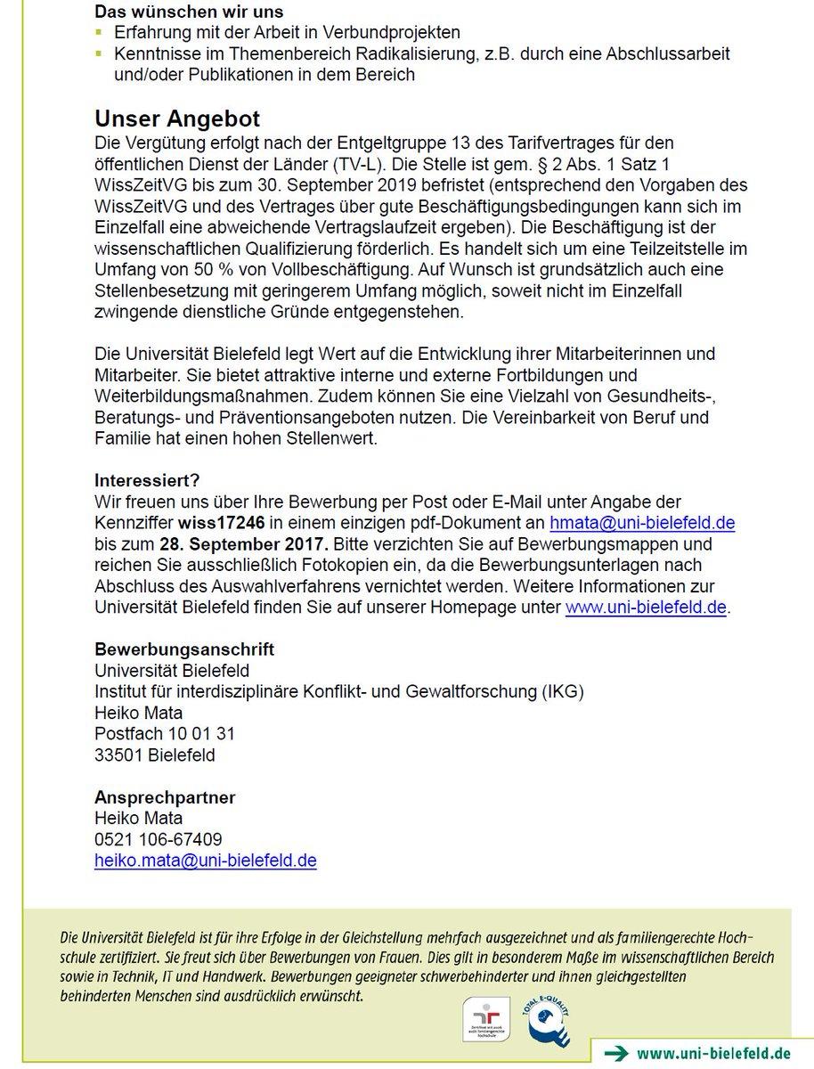 """Andreas Hövermann on Twitter: """"Halbe Stelle für Soziolog_In am IKG in  Bielefeld im HORIZON 2020-Verbundprojekt zu Gerichtsakten terroristischer  Gewalttäter ..."""