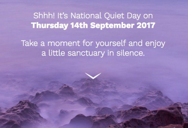 My advice - take at least 5 minutes today to quieten your mind. Many great #Mindfulness apps available...so no excuses! #nationalquietday <br>http://pic.twitter.com/0EvEQVuOwF