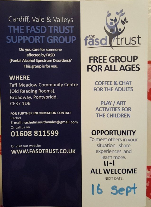 Support group this Saturday for #FASD families  #cardiff #rct #newport #barry #Merthyr<br>http://pic.twitter.com/VOCeyYIv9A