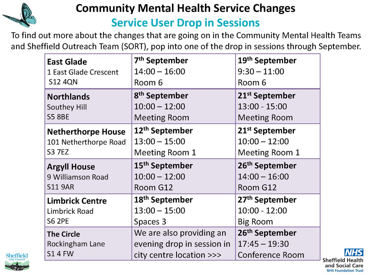 ... adult mental health services at our drop in sessions or visit  https://shsc.nhs.uk/about-us/adult-community-mental-health-services-are-changing/  …