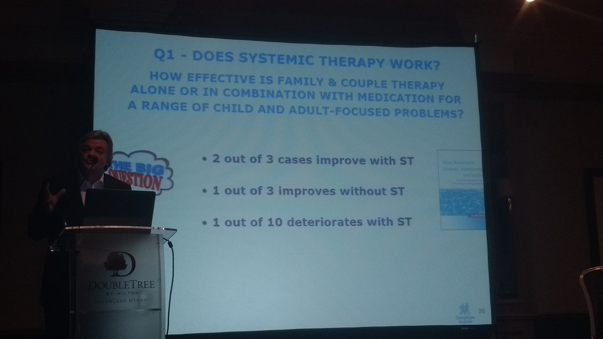 #AFT2017 ProfCarr: Take home message- How effective is #Systemic #Therapy? What can we tell families? #RCT #evidencebased #FamilyTherapy<br>http://pic.twitter.com/vNc3dz5hfz