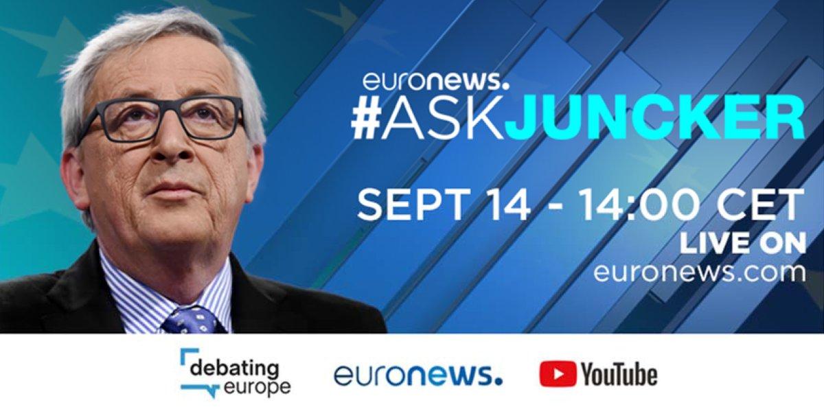 A 14h, @JunckerEU répond aux questions des jeunes youtubeurs 🎥 >> En live ici https://t.co/e9ATpijLcp #AskJuncker