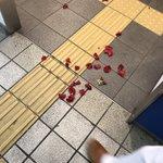 博多駅の鹿児島本線の男子トイレ前で薔薇が散ってるんだけど、そういうこと? pic.twitter.c…