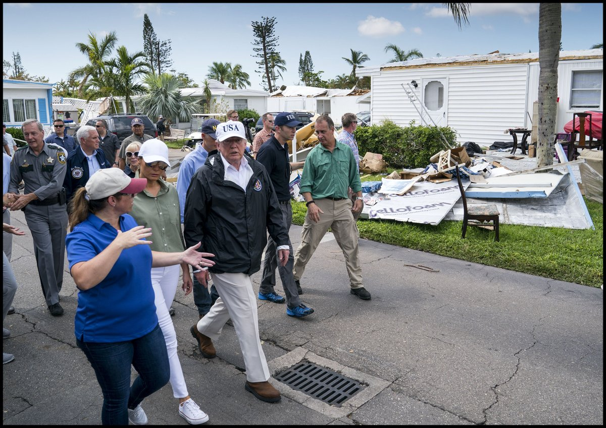 RealDonaldTrump Walks Through The Damaged Naples Estates Mobile Home Park In FL Tco VJi68k7hkJ