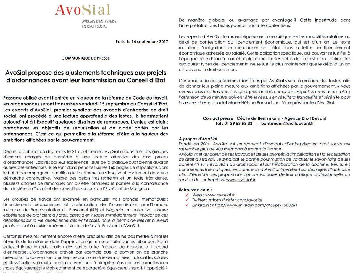 [COMMUNIQUE DE PRESSE] : #AvoSial propose des ajustements techniques aux projets d'ordonnances avant leur transmission au Conseil d'Etat pic.twitter.com/8eg1kQv1Hp