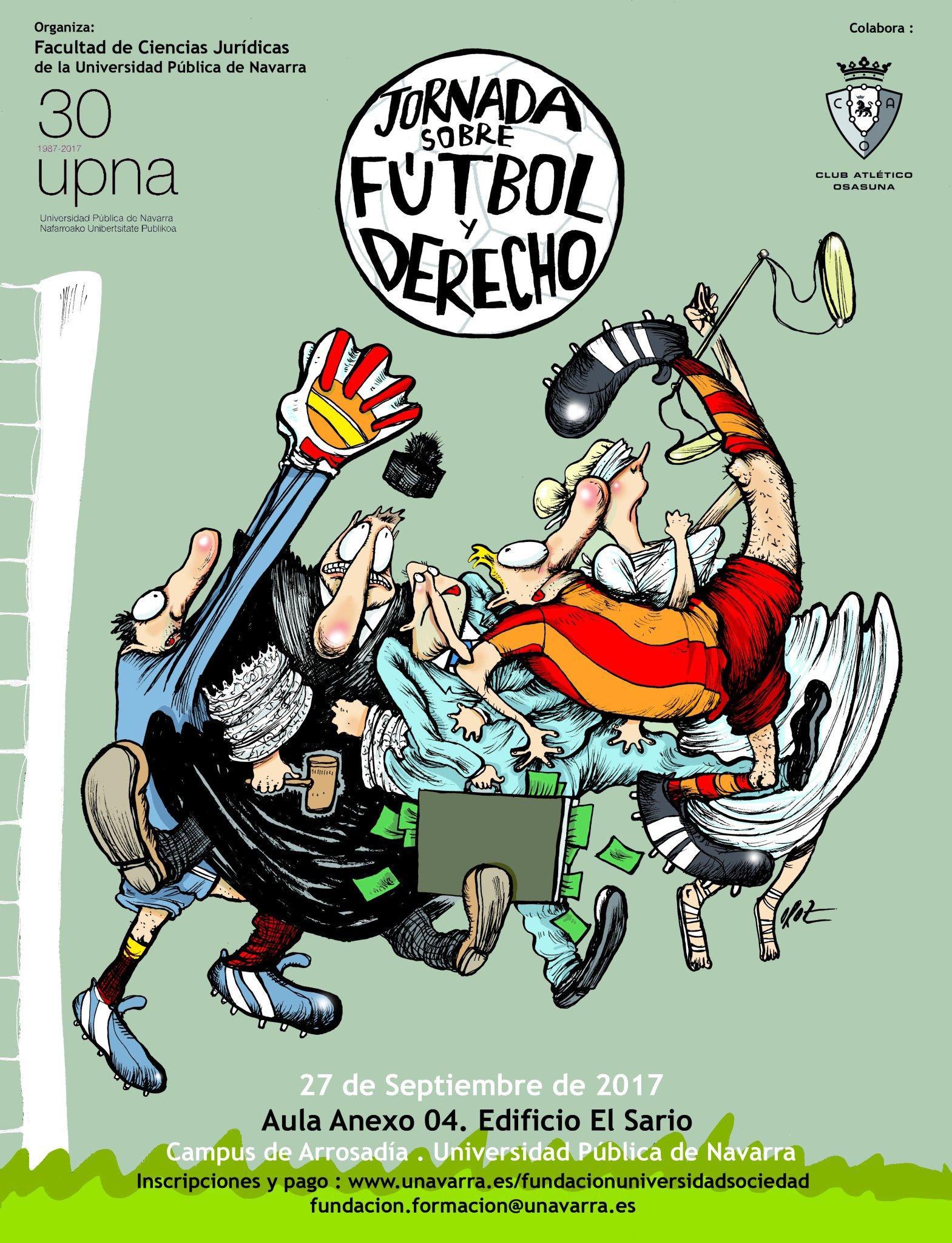El próximo 27 de septiembre tendrá lugar una 'Jornada sobre fútbol y derecho' en la UPNA.