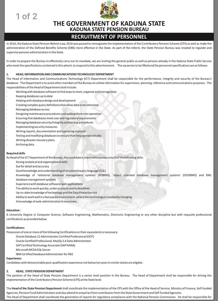 Inside kaduna on twitter kaduna state pension bureau is now inside kaduna on twitter kaduna state pension bureau is now recruiting lets reduce unemployment and have less idle people apply now please retweet xflitez Images