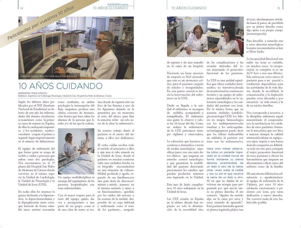 """¿Has leído """"10 años cuidando"""" de Esperanza Oreja, supervisora Cardiología, Neurología y Und Ictus en H.SanPedroAlcántara? #Enfermería Avanza"""