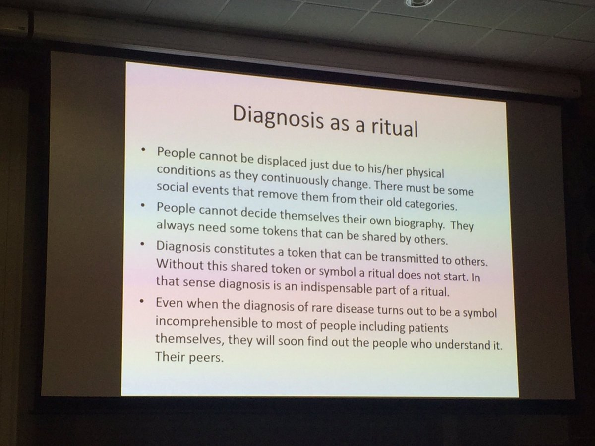 Interesting paper on the importance of diagnosis as a token that initiates a ritual - without it people exist in liminal spaces #medsoc2017 <br>http://pic.twitter.com/CCgRywwkhU