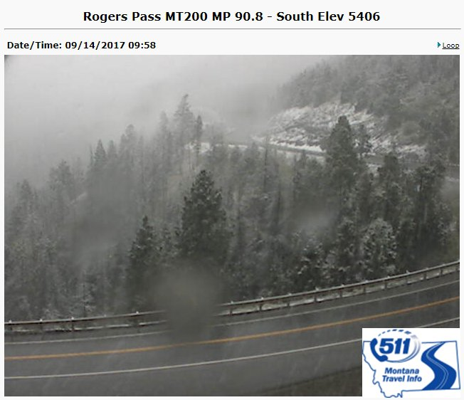 And, there it is. Snow has started over Rogers Pass! Several inches expected at/above pass level through Friday night. Drive safely.  #mtwx