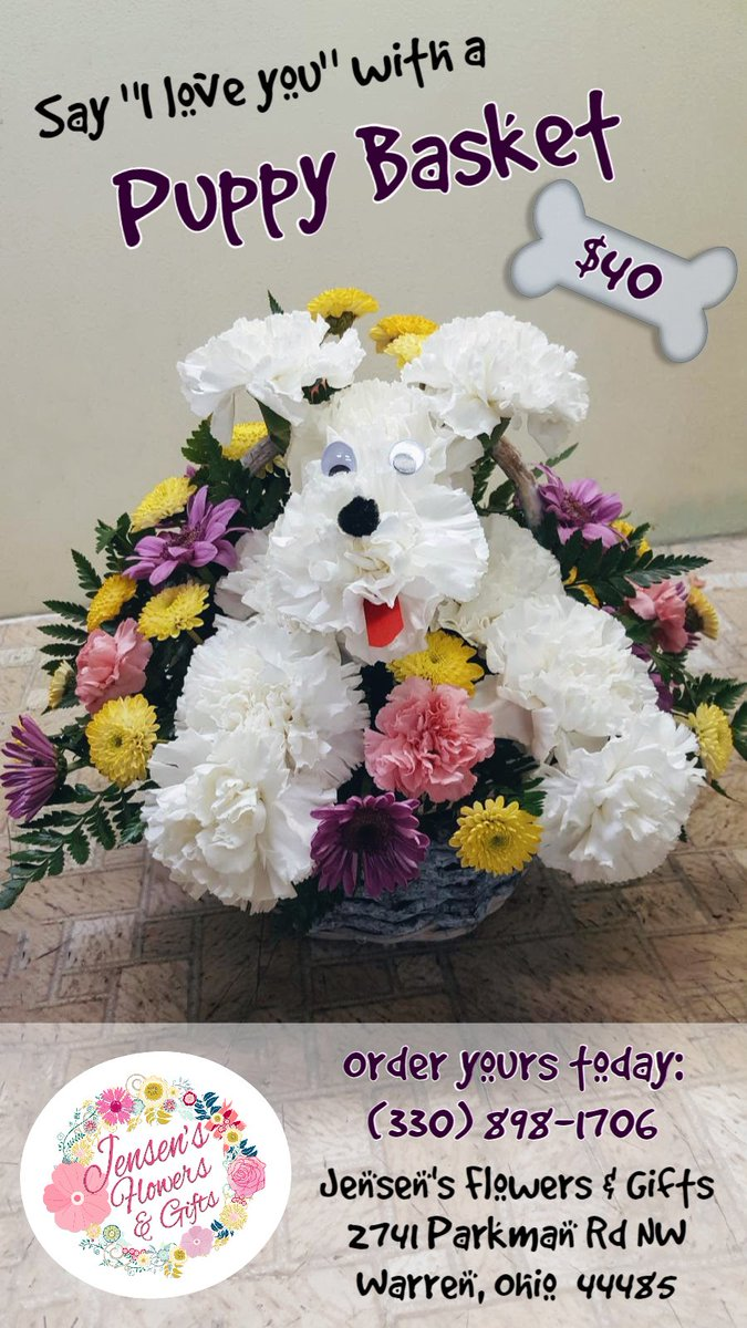 Say &quot;I love you&quot; with our Puppy Basket - $40  #jensensflowersandgifts #shoplocal #puppy #puppylove #dsfloral #flower #flowers #flowerlove<br>http://pic.twitter.com/hyGR08eyLw