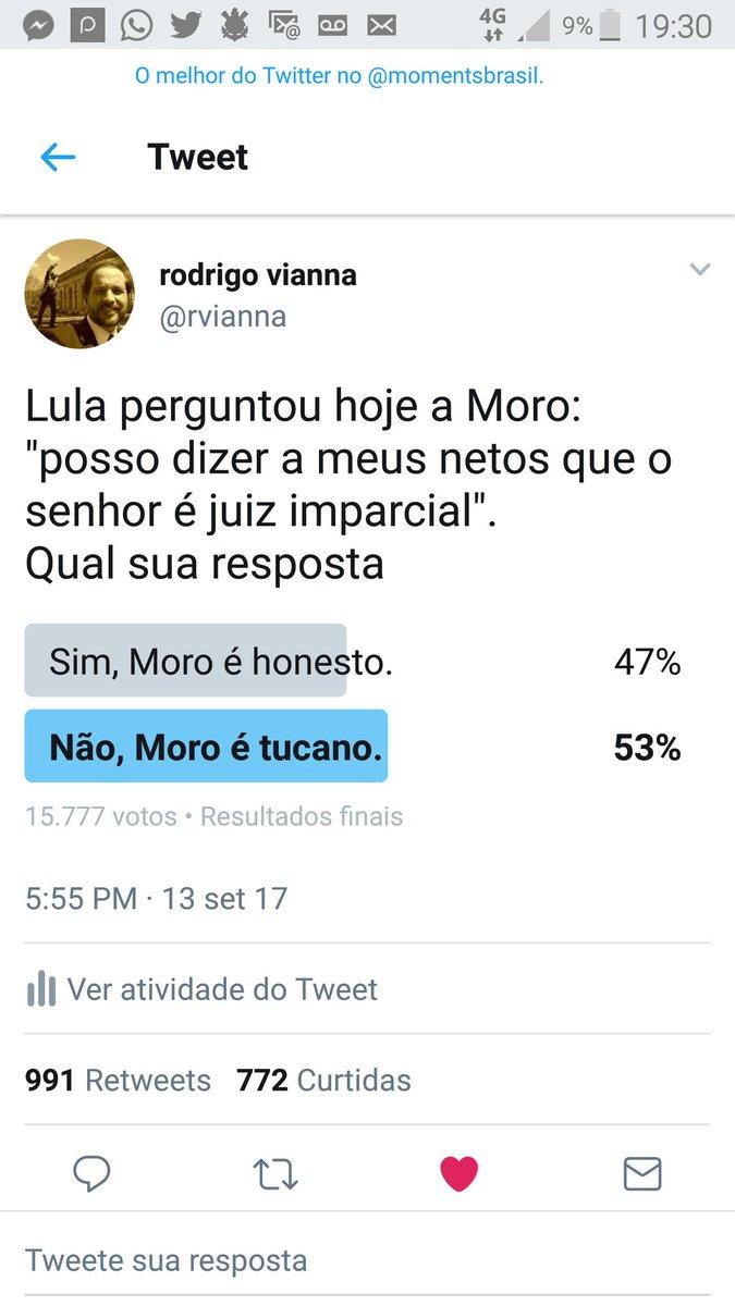 Fim da enquete! De 16 mil votantes, mais da metade vê Moro como juiz parcial! Perdeu, playboy: @Rodrigo_Moller_ cantou vitoria antes da hora