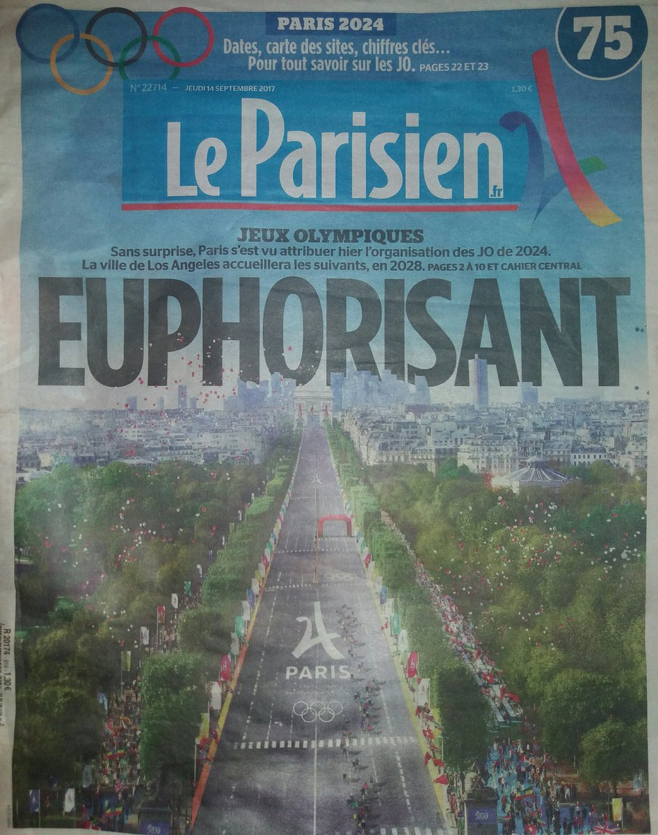 #Paris  is the next #Olympics2024 photo in the local #newspaper #leparisien shared by #parisalwayswalk walking #tours 2017<br>http://pic.twitter.com/EQy8GAIXFF