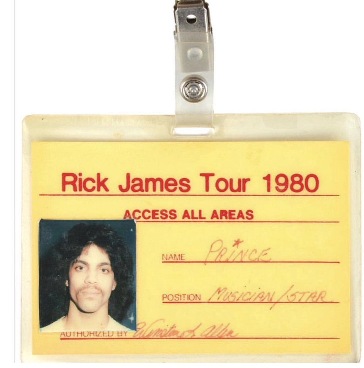 That time when this young unknown artist opened for Rick James.  Please look at what he wrote in the 'position' section.  #HeKnew #tbt