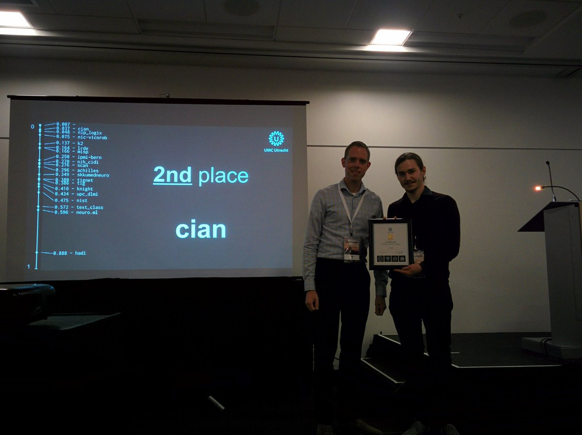 The second place in the WMH Segmentation Challenge went to team cian #miccai2017 <br>http://pic.twitter.com/2Ad3AFApK0