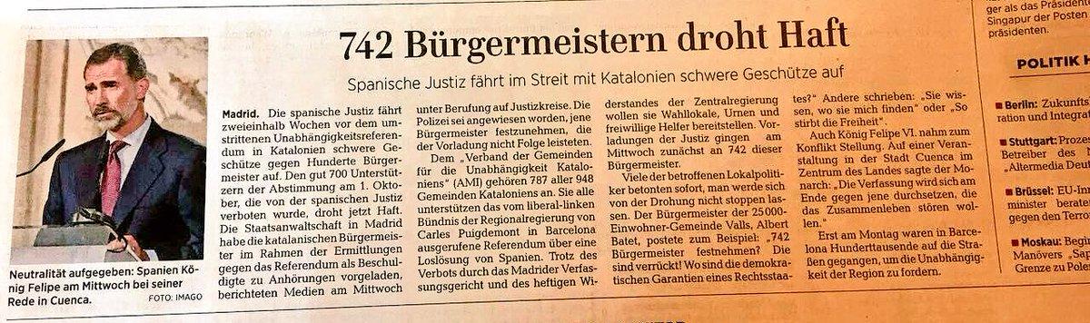 Neutralität aufgegeben. (El Rei) renúncia a la neutralitat. El peu de foto. Al diari conservador alemany @welt https://t.co/BAB5wSxVJP