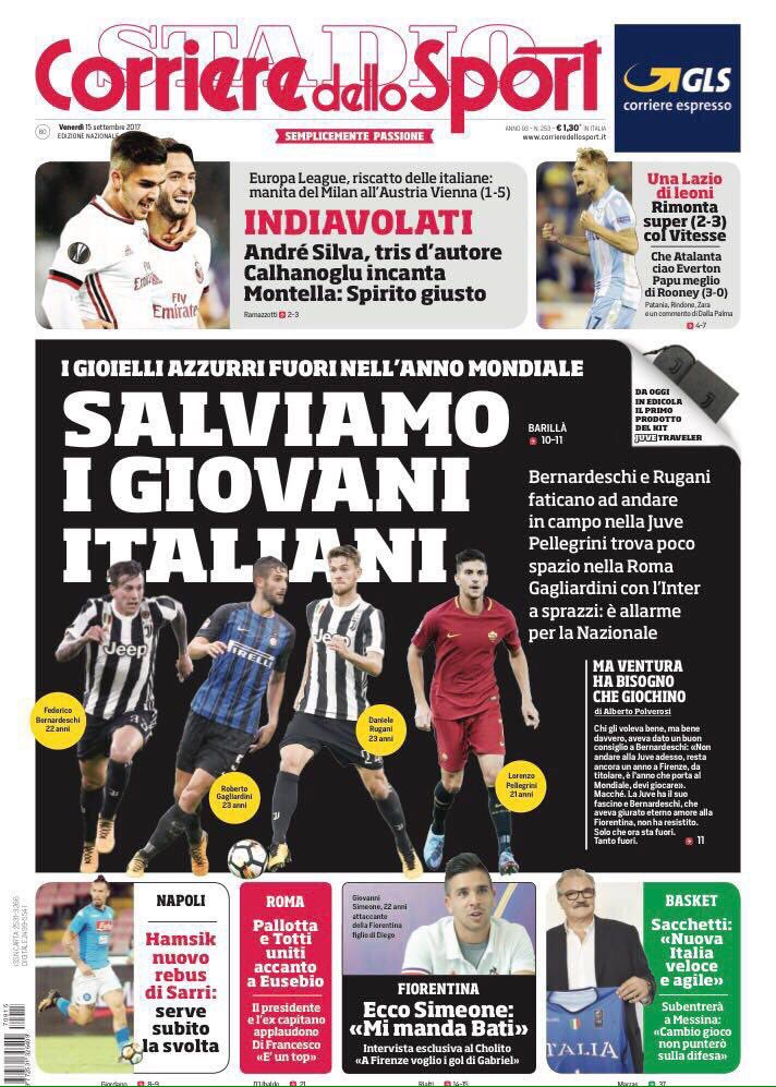 Front pages of #CdS &amp; #TS urge to save youngtalents+ note that[Mr] #Allegri has successfully found the right solutions after a tough start <br>http://pic.twitter.com/bABA1hFNBT