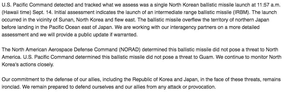.@PacificCommand statement on #DPRK test. Did not pose a threat to #Guam. <br>http://pic.twitter.com/7r5MISgVNW