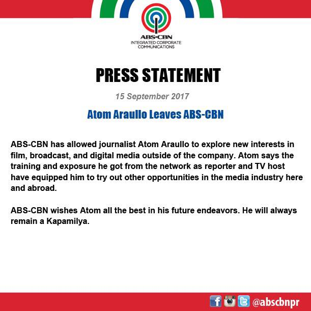 "Abs Cbn Latest News Update: ABS-CBN News On Twitter: ""READ: ABS-CBN Statement On Atom"