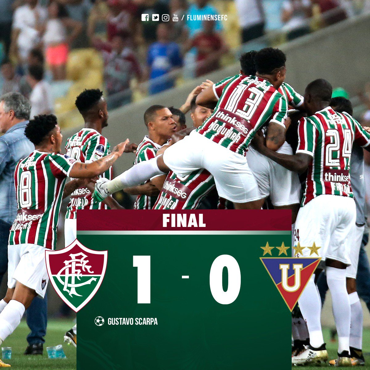 Largamos na frente! Fluminense bate a LDU no Maracanã #FLUxLDU