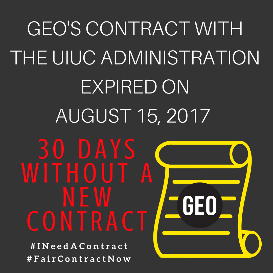 We&#39;ve been working without a new contract for 30 days now, and contract negotiations are ongoing #FairContractNow #GradWorkers #UnionStrong<br>http://pic.twitter.com/uB8A7thTmB
