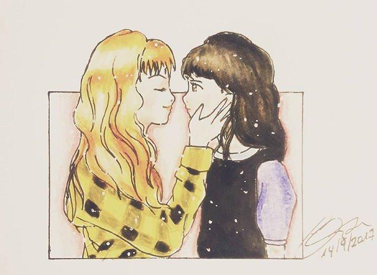 Hubo beso . Gracias a todos por sus msjs buena onda ! ♥️ viva el amor en todas sus formas .  ( gracias a la chica que hizo este dibujo ! )