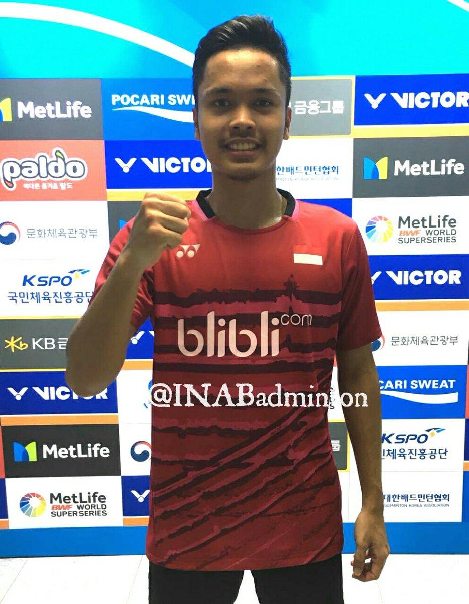 Anthony Sinisuka Ginting usai memenangkan pertandingan semifinal melawan pemain Jepang, Kenta Nishimoto, Jumat (15/9/2017).