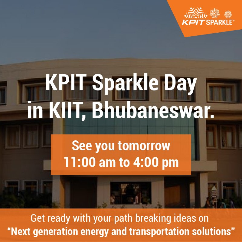 #KPITSparkle is coming to .@KIITUniversity Bhubaneswar tomorrow. Hope to see you there.  https:// goo.gl/2fYRqt  &nbsp;   #innovation #science<br>http://pic.twitter.com/GCjNv2qKlK