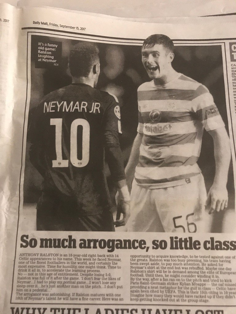Unlike Scottish press , the English media find the right angle on this story #ChampionsLeague #Neymar<br>http://pic.twitter.com/FwBneTStuh