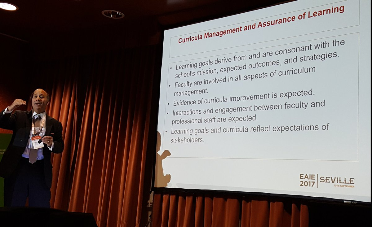 Demonstrating learning outcomes in graduate management education. Timothy Mescon of @AACSB  International speaking at #eaie2017 <br>http://pic.twitter.com/ceZ401QfwS