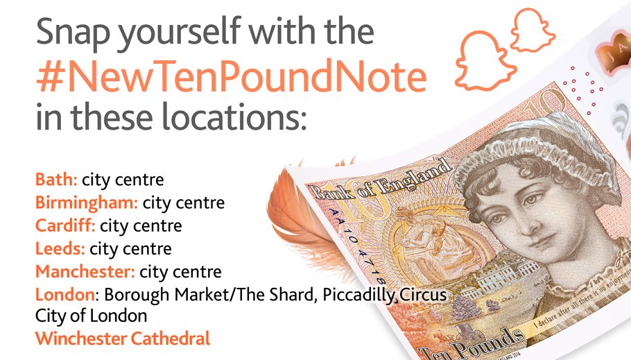 In case you missed it, our #NewTenPoundNote Snapchat filter is still available in these areas today. https://t.co/Ge0heqdX90