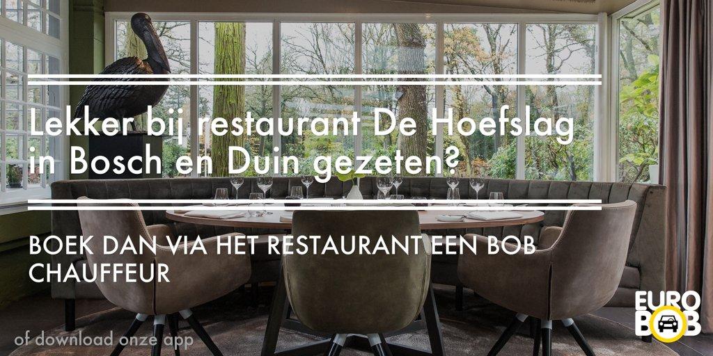 Lekker bij De Hoefslag gegeten en gedronken? Boek dan direct een chauffeur via onze app of het restaurant. http://ow.ly/l7qF30faVmm