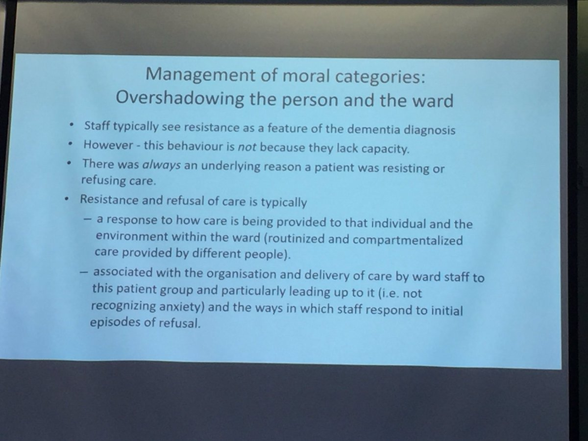 Compartmentalised &amp; routinised care CREATES resistance in patients w/ dementia. Talk by @Drkfeatherstone #medsoc2017 <br>http://pic.twitter.com/BLM1VmNGhd