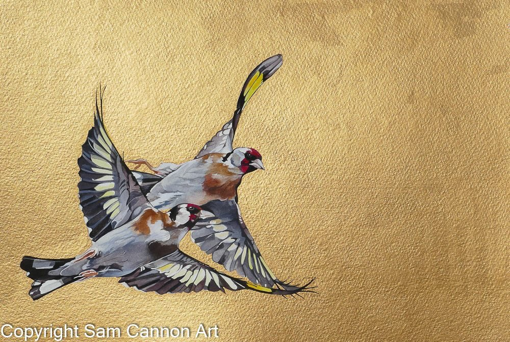 Goldfinches - watercolours and gouache #goldfinches #birds #flight<br>http://pic.twitter.com/o7wgvzPBVi