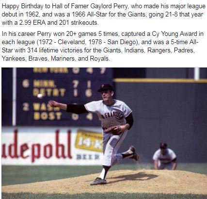Happy Birthday to Hall of Famer Gaylord Perry!