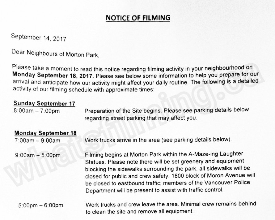#TheXFiles will be filming at the A-Maze-ing Laughter Statues in Morton Park (near English Bay) in #Vancouver on Monday. @olv #yvrshoots<br>http://pic.twitter.com/SsNEzfZXN0