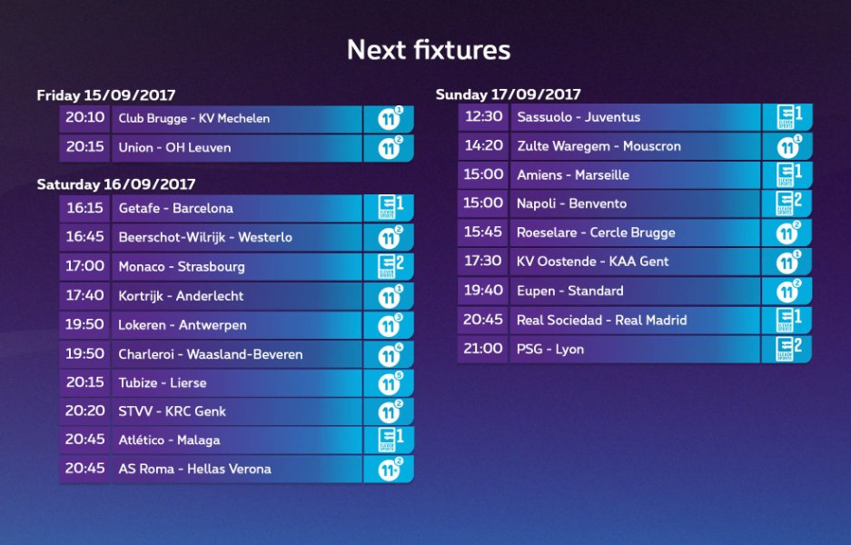Your weekend starts tonight with @ClubBrugge-@kvmechelen and @UnionStGilloise - @ohl_official on Proximus 11. #pxs11 #CLUKVM #USGOHL<br>http://pic.twitter.com/S0gKOAodlH